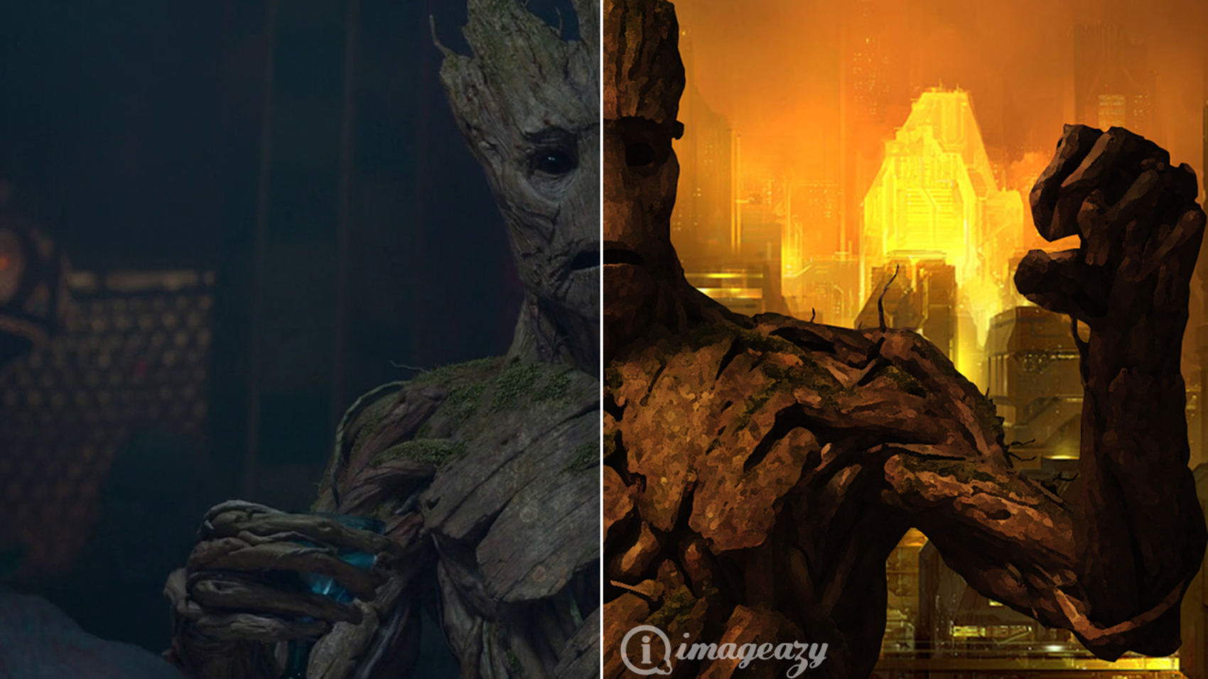 Groot before and after photoshop editing