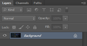 Background layer in the layers panel