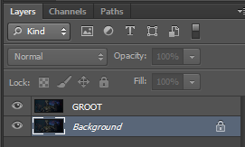 Background layer to be removed is duplicated and renamed as GROOT