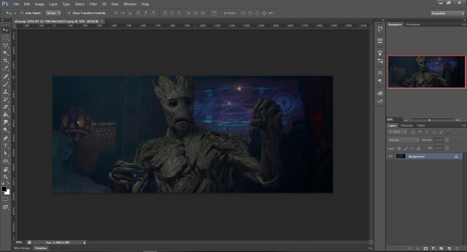 Screenshot of Groot opened in Photoshop