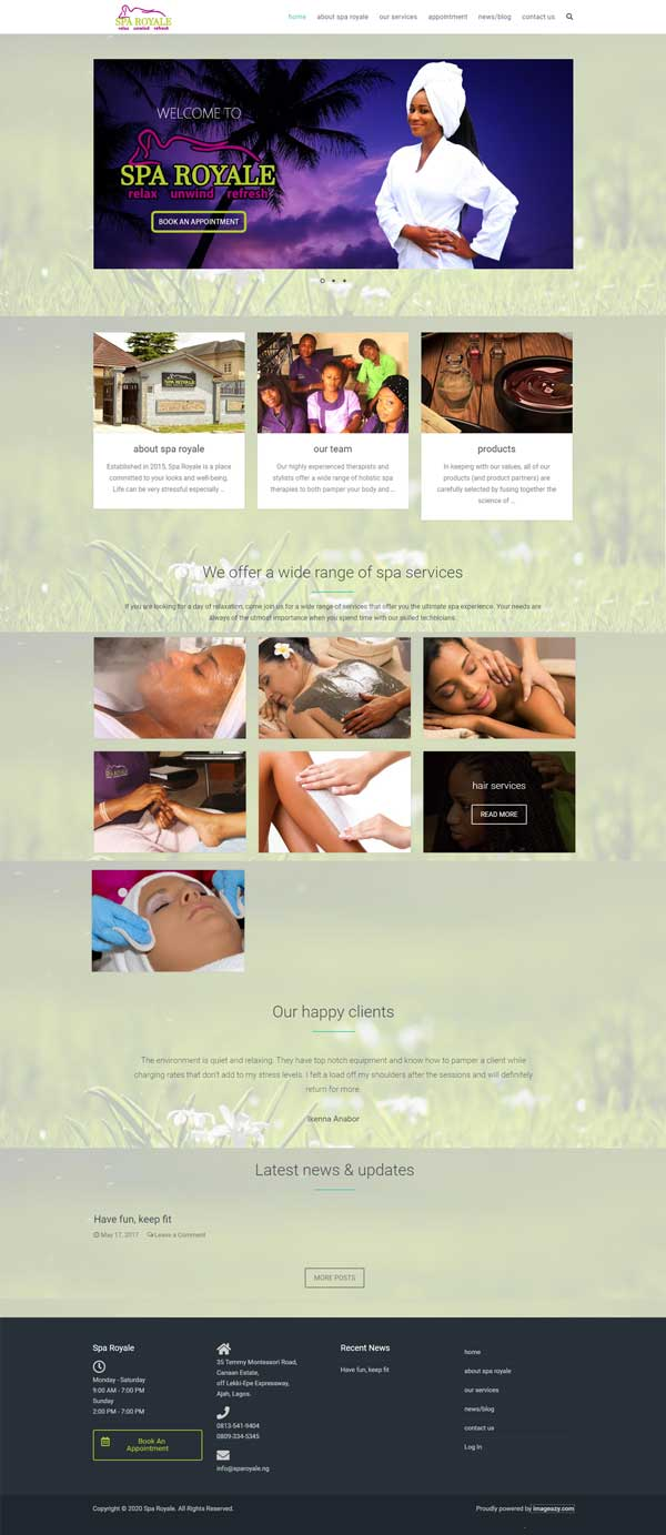 Spa Royale Web Design