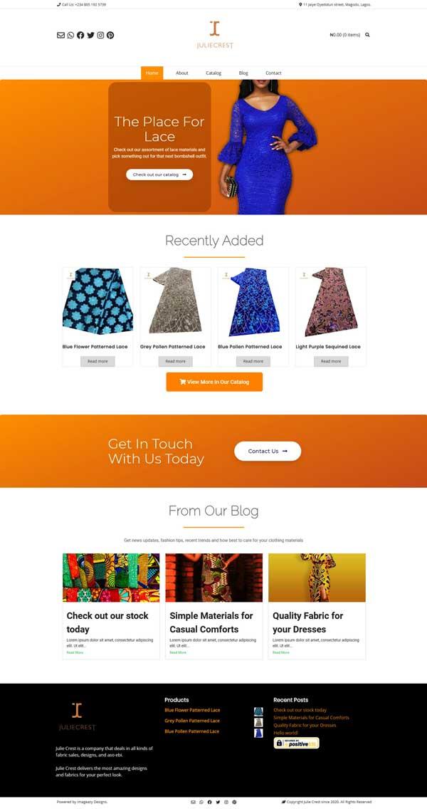 Julie Crest web design
